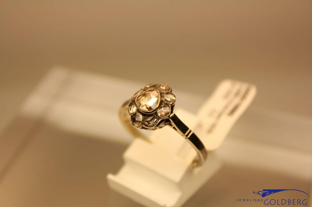 Antique 14 carat white gold ring diamond Den Bosch 1930-1935