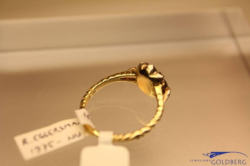14k gouden vintage ring met roos geslepen diamant