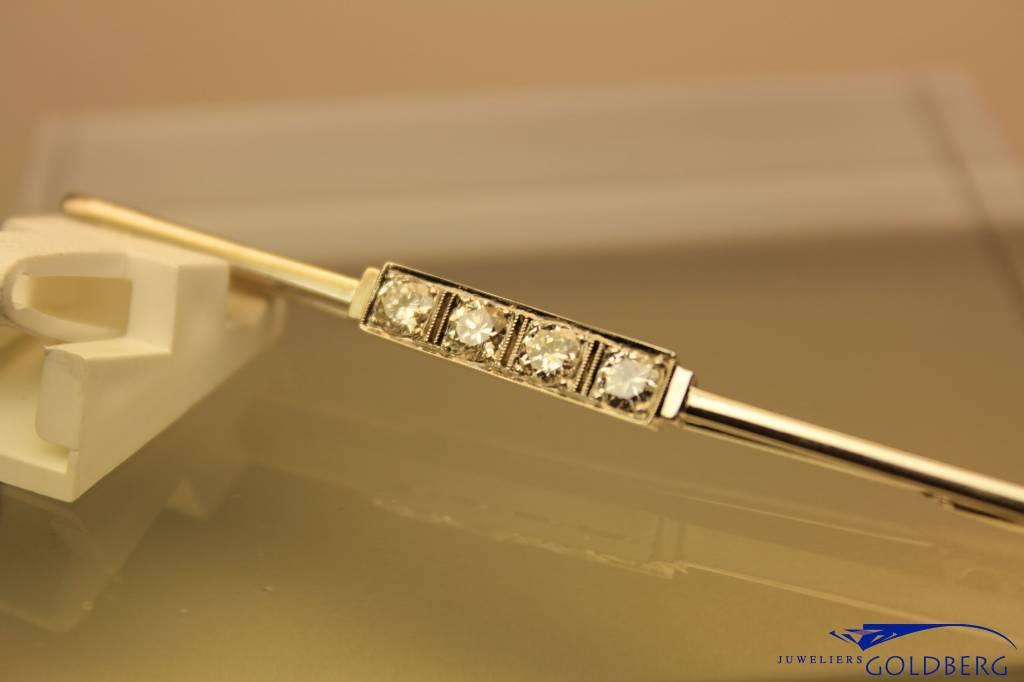 antique white gold Art Deco brooch 0.80ct diamond
