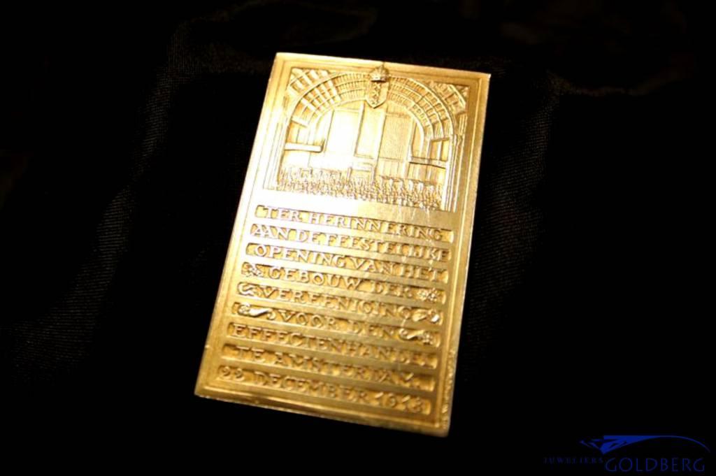 Antieke gouden legpenning Vereeniging voor den effectenhandel te Amsterdam 22 december 1913