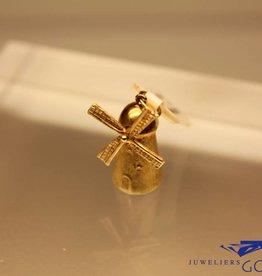 14k gouden molen bedel breed