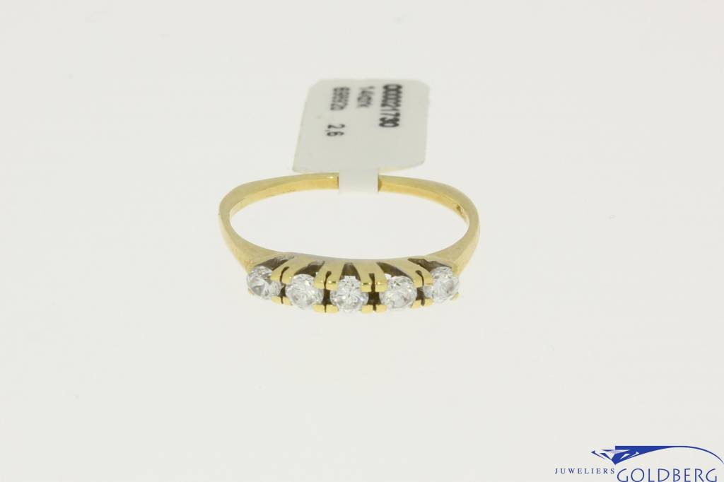 vintage gold alliance ring with 5 zirconias