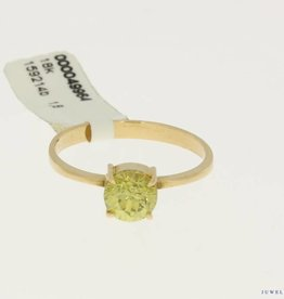 vintage ring 18k goud met gele steen