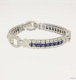 witgouden armband 2,40ct briljant & saffier.