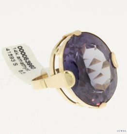 Big vintage 14k gold ring with amethyst