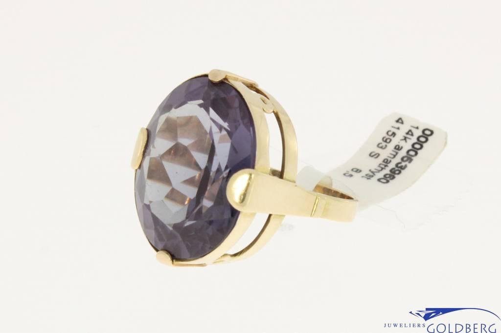 Big vintage 14k gold ring with amethyst