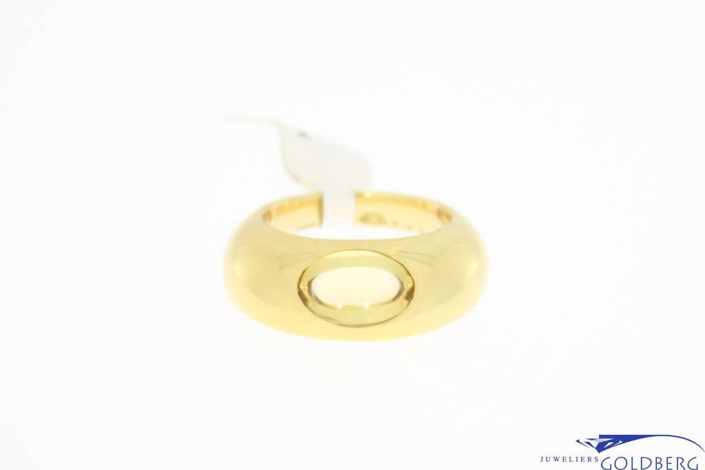 Vintage 18k gouden design ring van Georg Jensen met citrien.