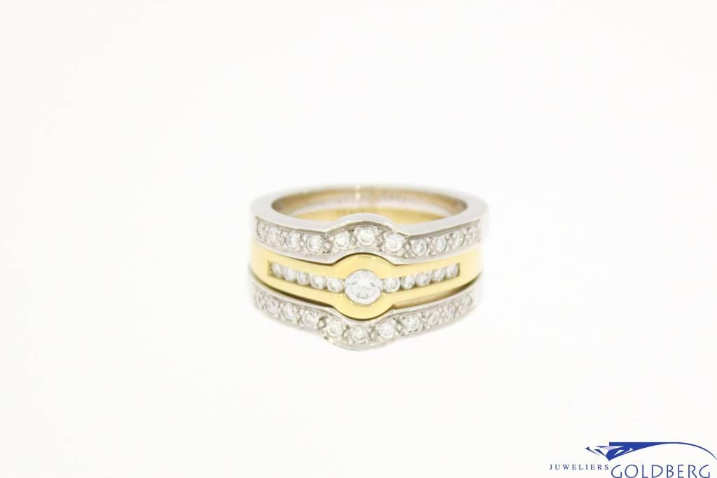 bicolor Promises ring combination 0.68ct diamond
