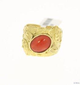 vintage 14k brede gouden ring bloedkoraal 11x8,5mm
