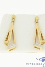 Vintage 18k gold earrings with 6 brilliant