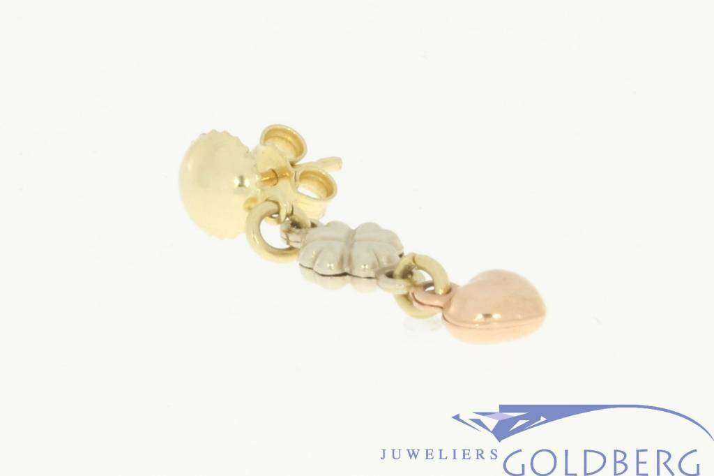 vintage 3-color gold earstuds with a heart and a clover