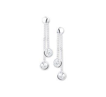 Silver earrings with double zirconia
