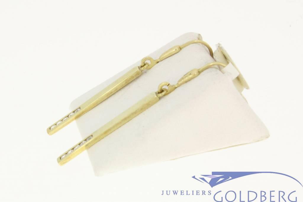 vintage 14k gold rectangular earrings with 10 zirconia's