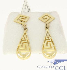 vintage 14k gold earrings in greek style