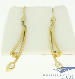 vintage 14k gold earrings with 4 zirconia