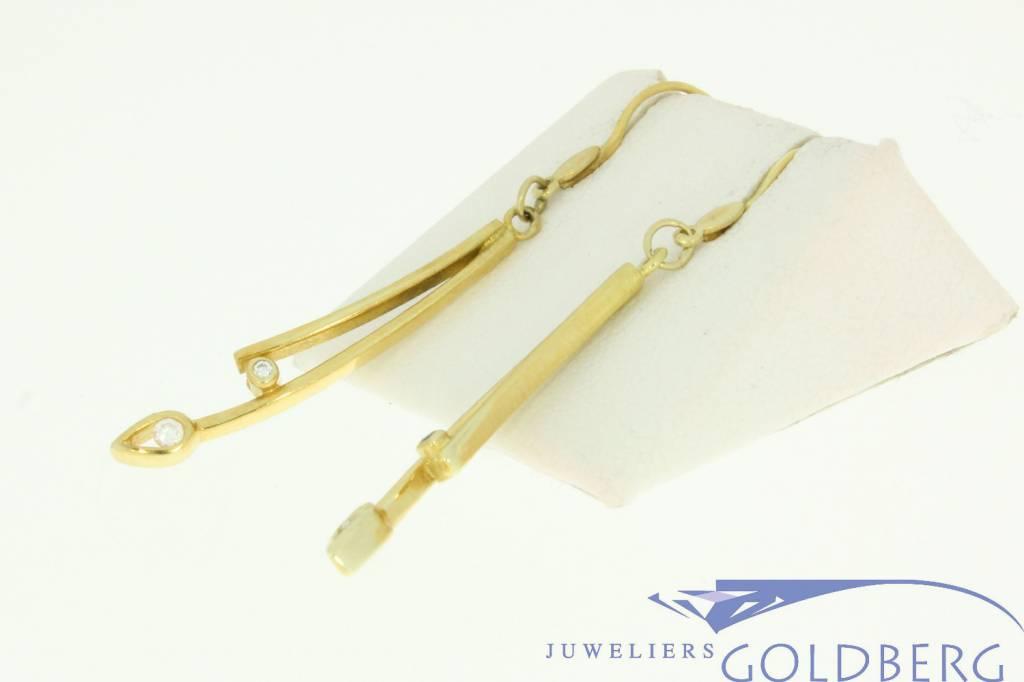 vintage 14k gold earrings with 4 zirconia