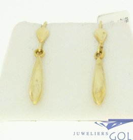 vintage 14k gouden oorhangers met pegels