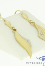 vintage 14k gold earrings with 2 zirconia