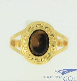 vintage 18k gouden ring met tijgeroog