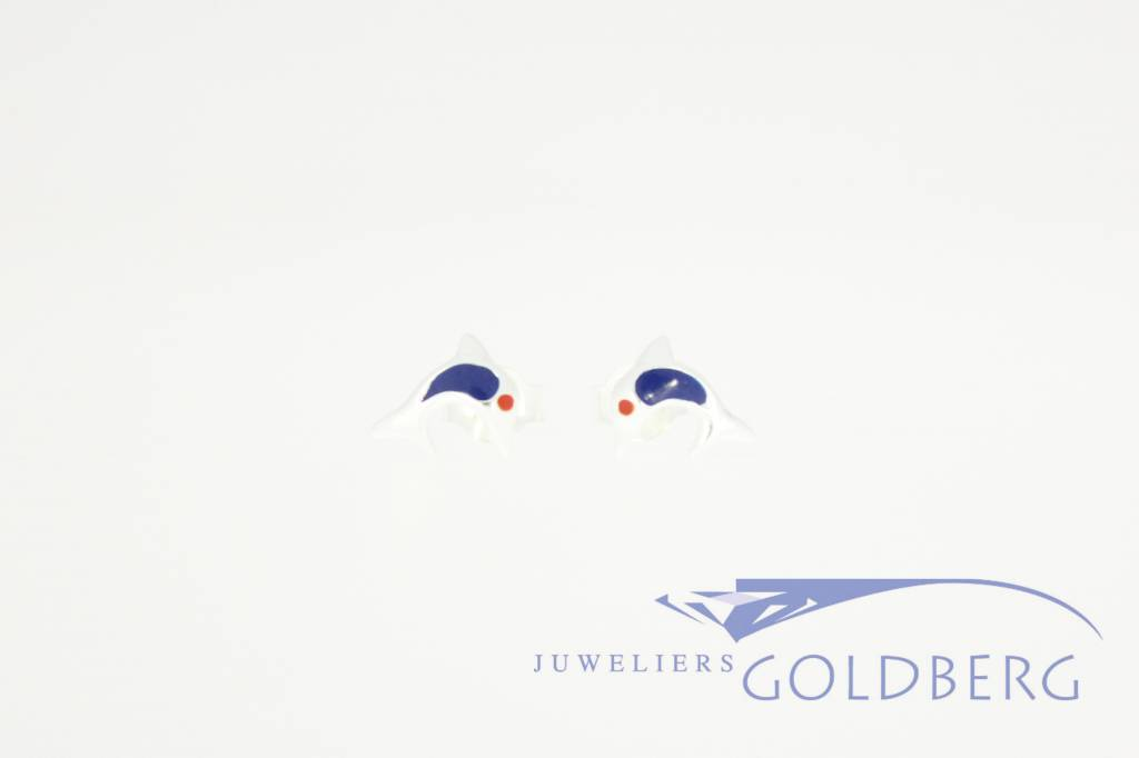 dolphin shaped silver ear studs, colored