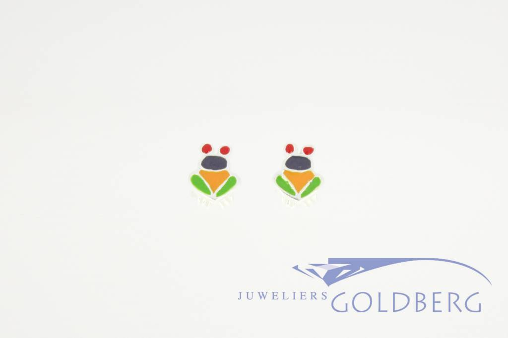 Frog shaped silver earstuds, colored