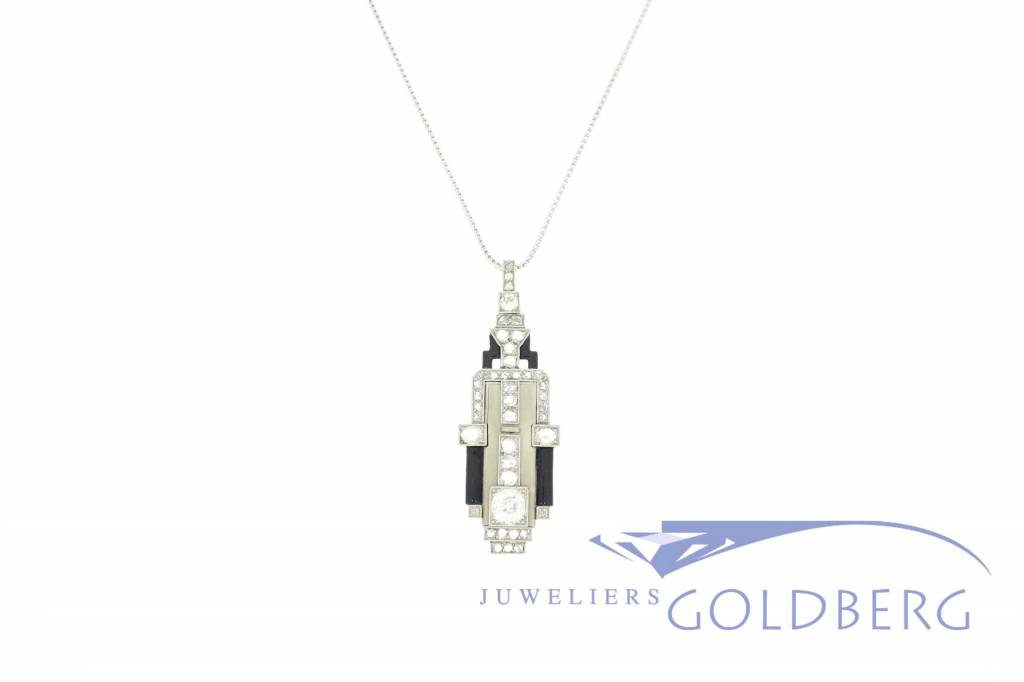 Art deco pendant made from 14k gold and diamonds goldberg antique white gold art deco pendant with diamonds mozeypictures Image collections