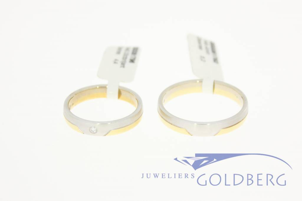 14k bicolor gold wedding band set Desiree 0.03ct diamond