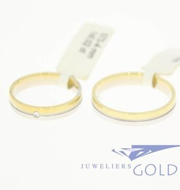 Desiree gouden Trouwringen set 14k bicolor 0.02ct