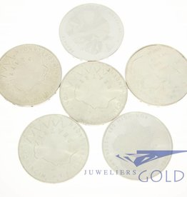 Zilveren 50 gulden munten (6 stuks)
