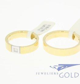 Desiree gouden Trouwringen set 14k geelgoud & bicolor 0.03ct