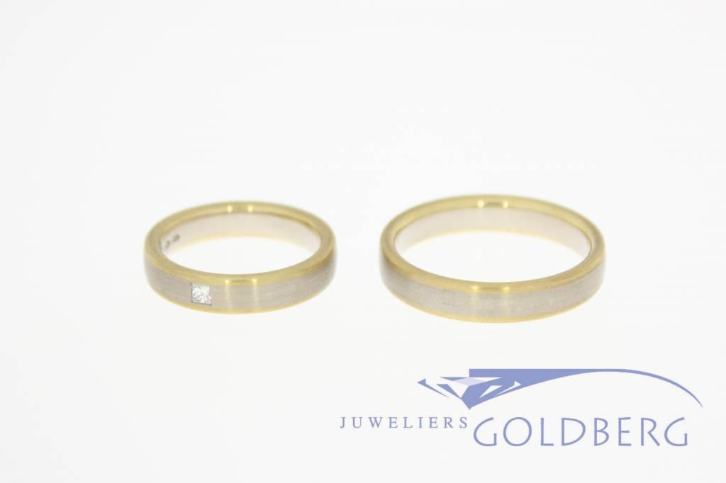 14k bicolor gold wedding band set Desiree 0.07ct princess cut diamond