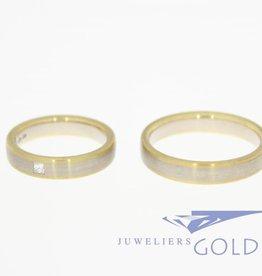 Desiree gouden trouwringen set mat 0.07ct prinses