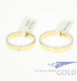 14k bicolor gold wedding band set Desiree 0.02ct diamond