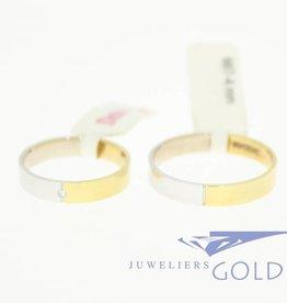 Desiree gouden Trouwringen set 14k bicolor 0.01ct