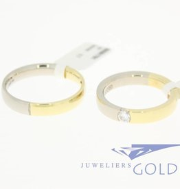Desiree gouden Trouwringen set 14k bicolor 0.20ct