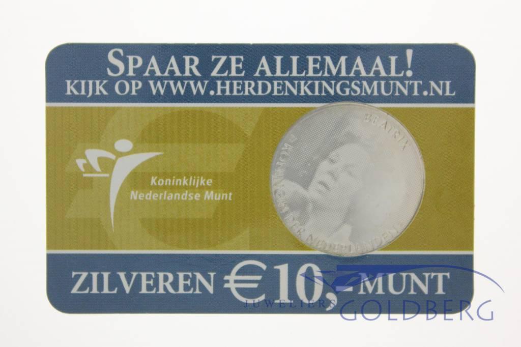 Silver Dutch 10 Euro coin 2005