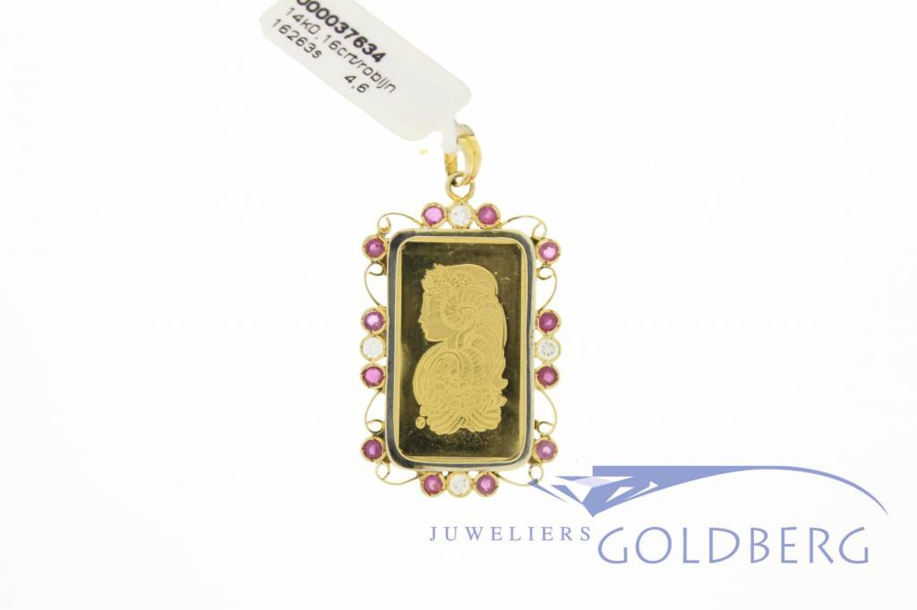 Vintage gold bar pendant with diamonds and rubies