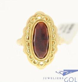 vintage sierlijke 14k gouden ring met granaat