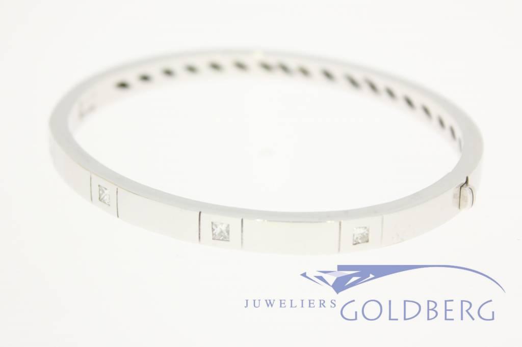 heavy 18 carat white gold bangle princess cut diamonds
