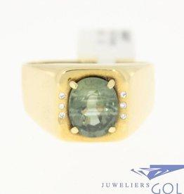 vintage 18k gouden ring met beryl en briljanten