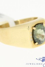 Nice vintage 18k gold ring with beryl and diamonds