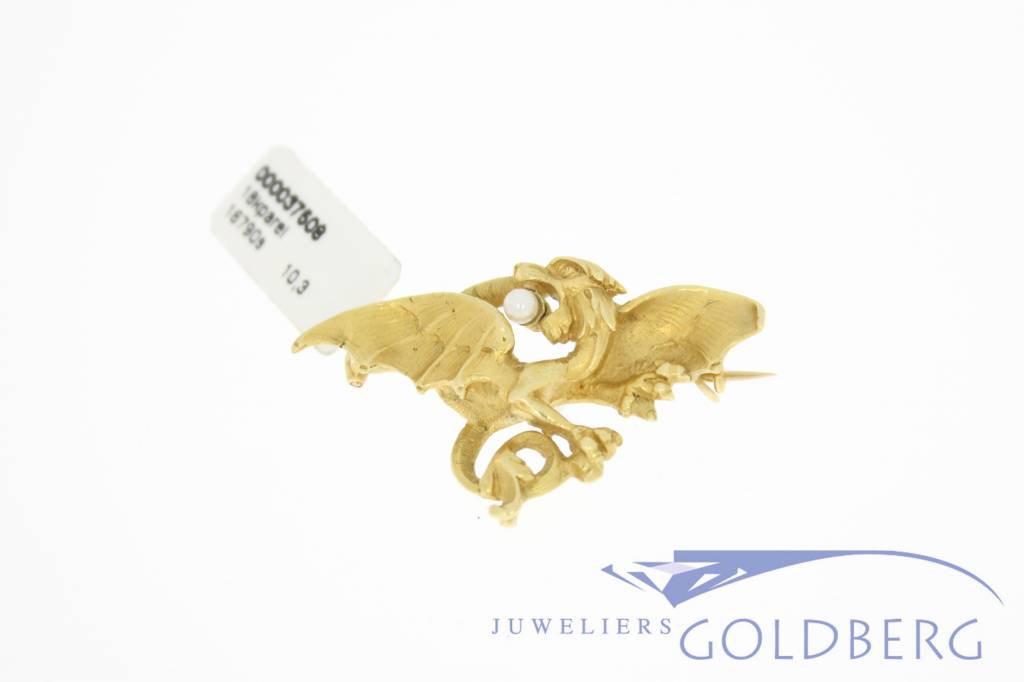 Gold victorian style dragon brooch