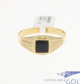 Vintage 14k mat gouden unisex ring met onyx