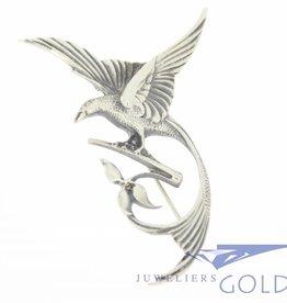 zilveren paradijsvogel broche jaren '50