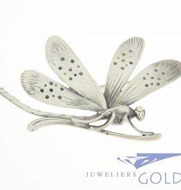 Zilveren libelle broche jaren '50