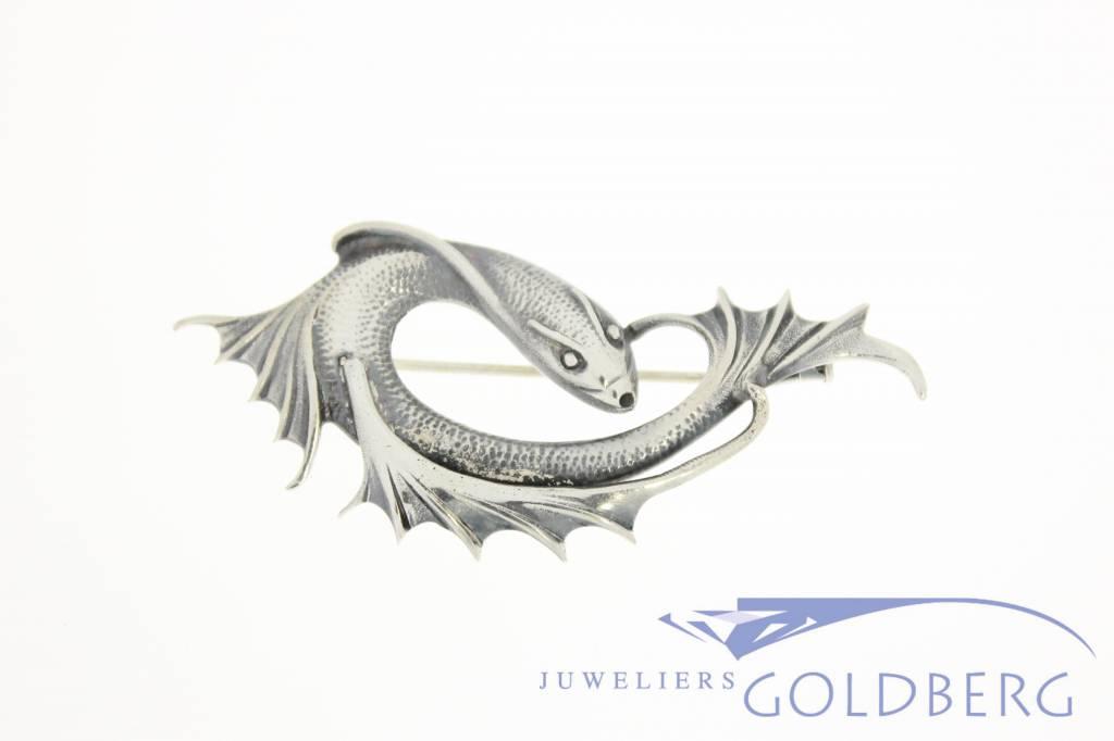 Zilveren vis broche jaren '50