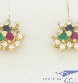 Vintage 14k gouden oorstekers met saffier, smaragd, zirconia en robijn
