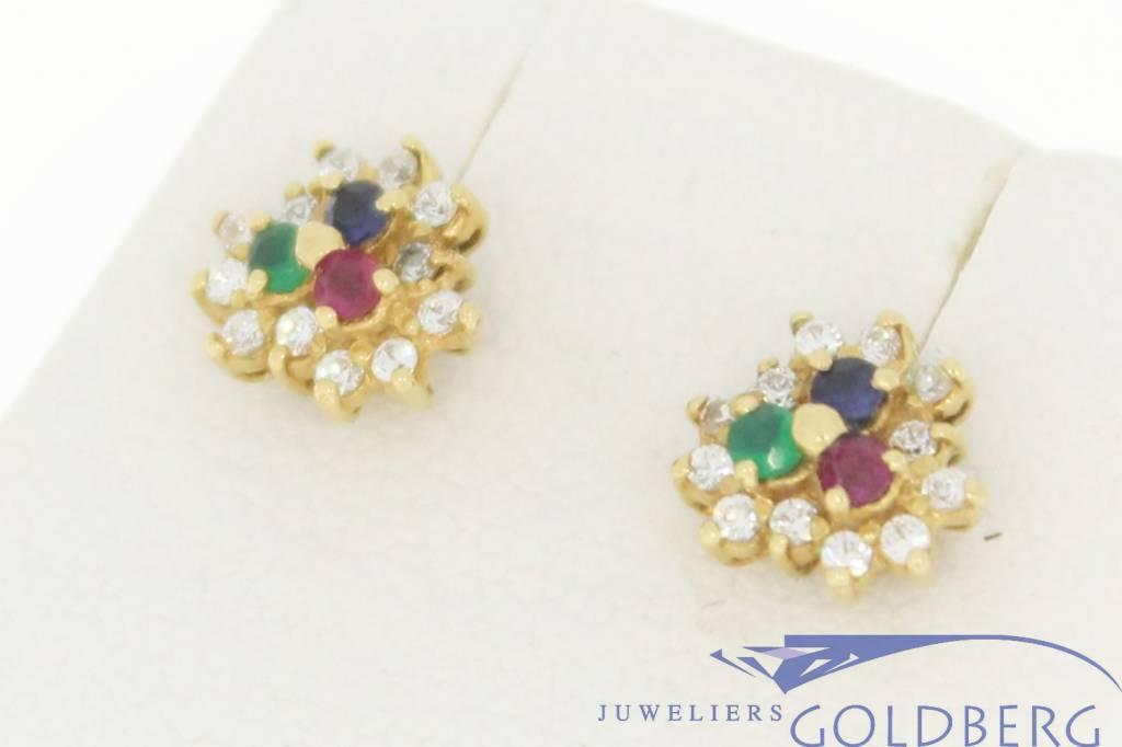 Vintage 14 carat gold earstuds with sapphire, emerald, zirconia en ruby
