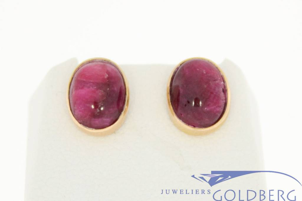 Vintage 18 carat gold earstuds with large ruby