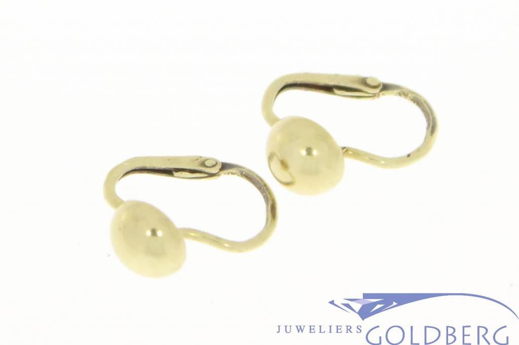 Vintage 14 carat gold spherical shaped earrings
